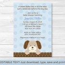 Polka Dot Puppy Dog Baby Boy Printable Baby Shower Invitation Editable PDF #A116