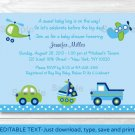 Car Truck Boat Plane Helicopter Printable Baby Shower Invitation Editable PDF #A143