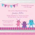 Girl Monsters Printable Baby Shower Invitation Editable PDF #A183