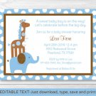 Mod Blue Elephant Giraffe Jungle Printable Baby Shower Invitation Editable PDF #A271