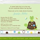 Mod Turtle Frog Pond Pals Printable Baby Shower Invitation Editable PDF #A274
