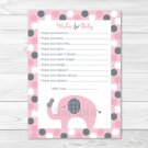 Lil Peanut Polka Dot Elephant Printable Baby Shower Wishes For Baby Advice Cards #A276