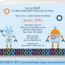 Baby Bots Robot Baby Boy Printable Baby Shower Invitation Editable PDF #A228