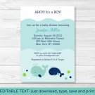 Little Blue Whale Nautical Printable Baby Shower Invitation Editable PDF #A129