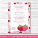 Sweet Little Strawberry Printable Baby Shower Invitation Editable PDF #A285