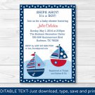 Sail Away Sailboat Nautical Blue Printable Baby Shower Invitation Editable PDF #A123
