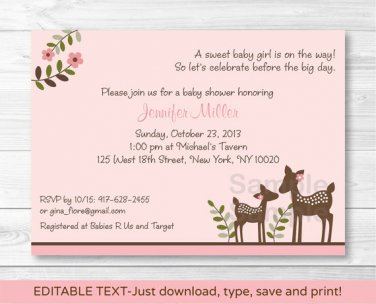 Pink Willow Deer Baby Girl Printable Baby Shower Invitation Editable PDF #A200