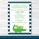 Preppy Alligator Printable Baby Shower Invitation Editable PDF #A157