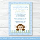 Baby Boy Monkey Blue Jungle Safari Printable Baby Shower Invitation Editable PDF #A164