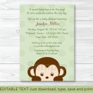 Mod Boy Monkey Jungle Safari Green Printable Baby Shower Invitation Editable PDF #A125