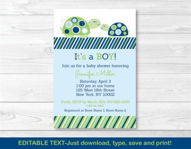 Mod Green Turtle Mom And Baby Printable Baby Shower Invitation Editable PDF #A126
