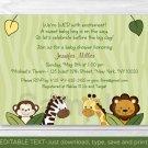 Safari Friends Jungle Animals Printable Baby Shower Invitation Editable PDF #A169