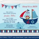 Pirate Monkey Nautical Whale Printable Baby Shower Invitation Editable PDF #A287