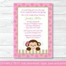 Lil Monkey Girl Jungle Safari Printable Baby Shower Invitation Editable PDF #A270