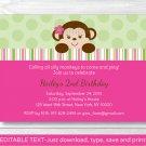 Mod Girl Monkey Pink Green Printable Birthday Invitation Editable PDF #A288