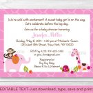 Sweet Safari Girl Jungle Animals Printable Baby Shower Invitation Editable PDF #A289