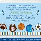 Sports Football Baseball Soccer Printable Birthday Invitation Editable PDF #A291
