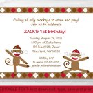 Silly Sock Monkey Printable Birthday Invitation Editable PDF #A292