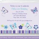 Lavender Butterfly Garden Printable Birthday Invitation Editable PDF #A203