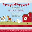 Farm Animals Barn Friends Printable Birthday Invitation Editable PDF #A293