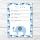Lil Peanut Elephant Blue Dots Printable Baby Shower Wishes For Baby Advice Cards #A294