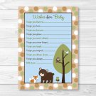 Bear Fox Owl Forest Friends Printable Baby Shower Wishes For Baby Advice Cards #A290
