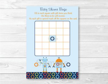 Baby Bots Robot Printable Baby Shower Bingo Cards #A228