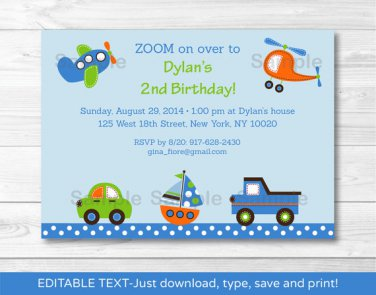 Car Truck Boat Airplane Helicopter Printable Birthday Invitation Editable PDF #A296