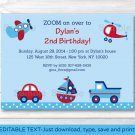 Transportation Around The Town Printable Birthday Invitation Editable PDF #A297