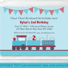 Choo Choo Train Red Blue Baby Boy Printable Birthday Invitation Editable PDF #A298