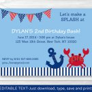 Nautical Crab Under The Sea Printable Birthday Invitation Editable PDF #A199