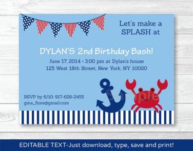 Nautical Crab Under The Sea Printable Birthday Invitation Editable PDF #A199