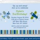 Lil Aviator Airplane Printable Birthday Invitation Editable PDF #A299