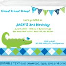 Preppy Alligator Argyle Printable Birthday Invitation Editable PDF #A300
