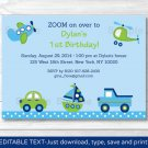 Car Truck Sailboat Plane Helicopter Printable Birthday Invitation Editable PDF #A301