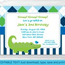 Preppy Alligator Argyle Stripes Printable Birthday Invitation Editable PDF #A302