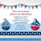 Sail Away Sailboat Nautical Blue Printable Birthday Invitation Editable PDF #A168