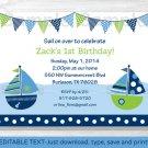 Nautical Sailboat Printable Birthday Invitation Editable PDF #A198
