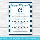 Nautical Anchor Printable Baby Shower Invitation Editable PDF #A222