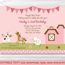 Pink Farm Animals Printable Birthday Invitation Editable PDF #A142