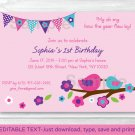 Spring Bird Printable Birthday Invitation Editable PDF #A307