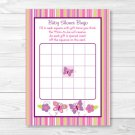 Baby Girl Pink Butterfly Printable Baby Shower Bingo Cards #A221
