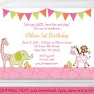 Pink Safari Girl Jungle Animal Printable Birthday Invitation Editable PDF #A309