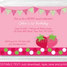 Sweet Little Strawberry Printable Birthday Invitation Editable PDF #A311