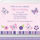 Pink Purple Butterfly Garden Printable Birthday Invitation Editable PDF #A120