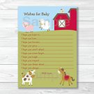 Farm Animals Printable Baby Shower Wishes For Baby Advice Cards #A313