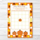 Lil Pumpkin Autumn Harvest Printable Baby Shower Bingo Cards #A248