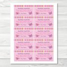 Baby Girl Pink Butterfly Printable Baby Shower Diaper Raffle Tickets #A221