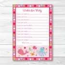 Pink Under The Sea Printable Baby Shower Wishes For Baby Advice Cards #A262