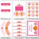 Pink Pumpkin Fall Harvest Printable Birthday Party Package #A315